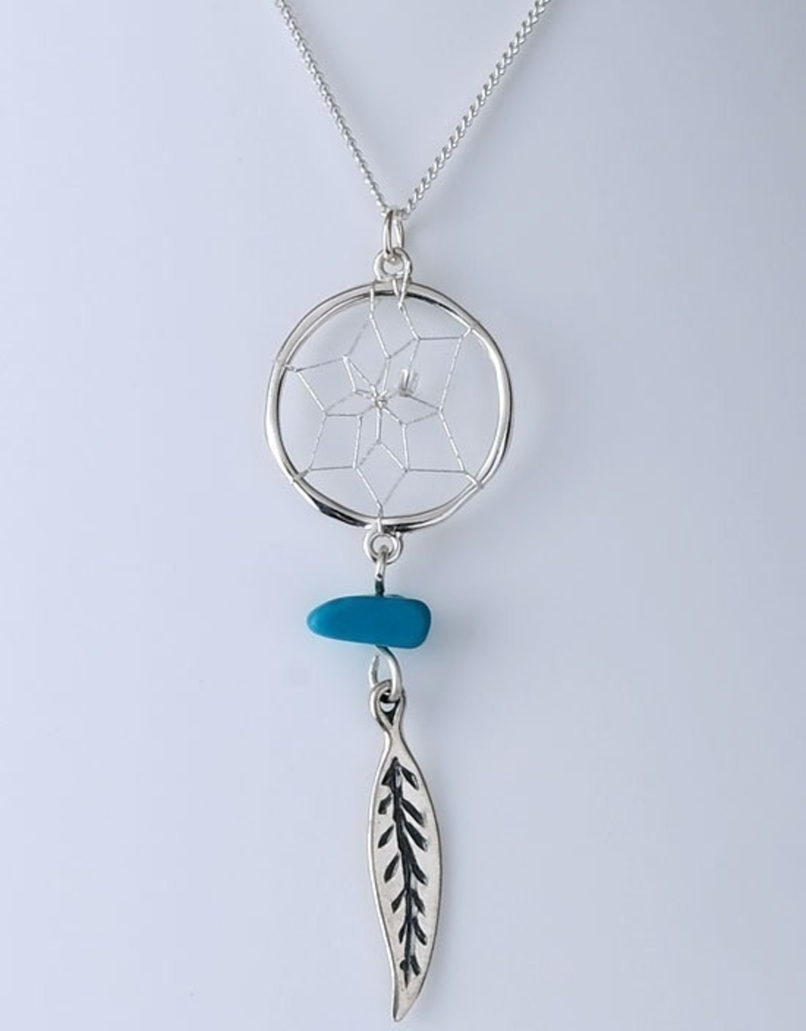 "Exquisite .5"" Dream Catcher .925 Sterling Silver pendant detailed with Turquoise semi-precious stone and sterling silver feather"