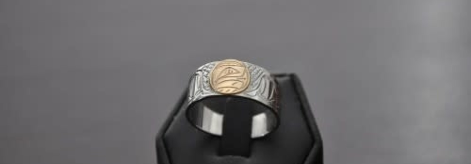 Hand Carved Silver Ring with Gold carved Eagle Inlay by Nancy Dawson