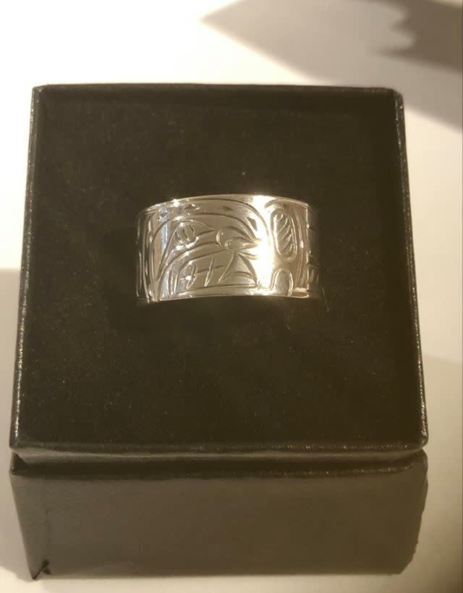 Hand carved silver rings by Nancy Dawson