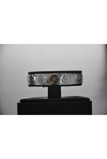 "1/2"" Wide hand carved silver Bracelet With a 14Kt Gold Disc In The Eagle Design.  Handmade by Nancy Dawson"