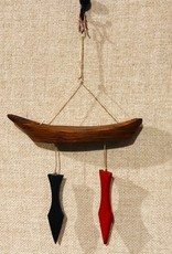 """Hand Carved wooden Canoe & Paddle Decor 8"""" by Patrick Bello"""