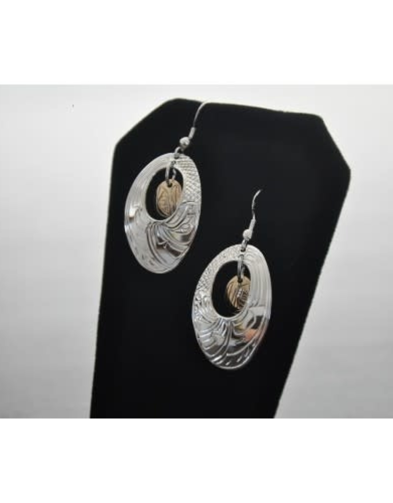 Hand Carved Silver Oval Earrings with 14k gold oval in Centre. Eagle design by Nancy Dawson