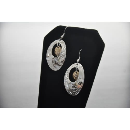 Hand Carved Silver Oval Earrings with 14k gold oval in Centre. Eagle design by Nancy Dawson-1