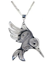 Silver Pewter Hummingbird in Flight Pendant Bill Helin