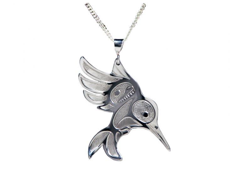 Silver Pewter Hummingbird in Flight Pendant Bill Helin-1