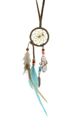 "1"" Brown and Turquoise Magical Dream Catcher detailed with quartz crystal."