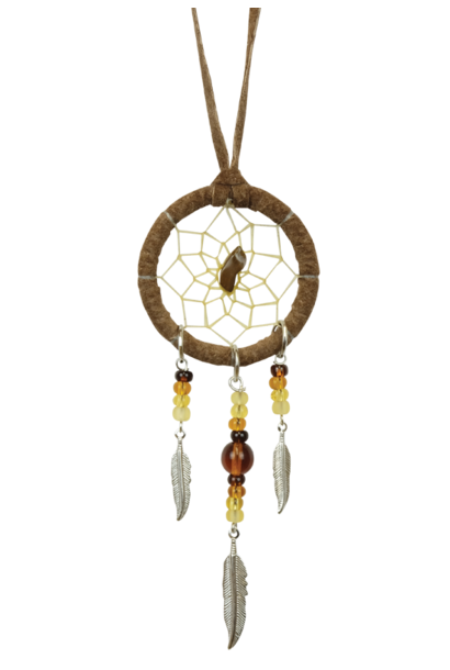 "1.5"" Brown Dream Catcher detailed with a semi-precious stone"