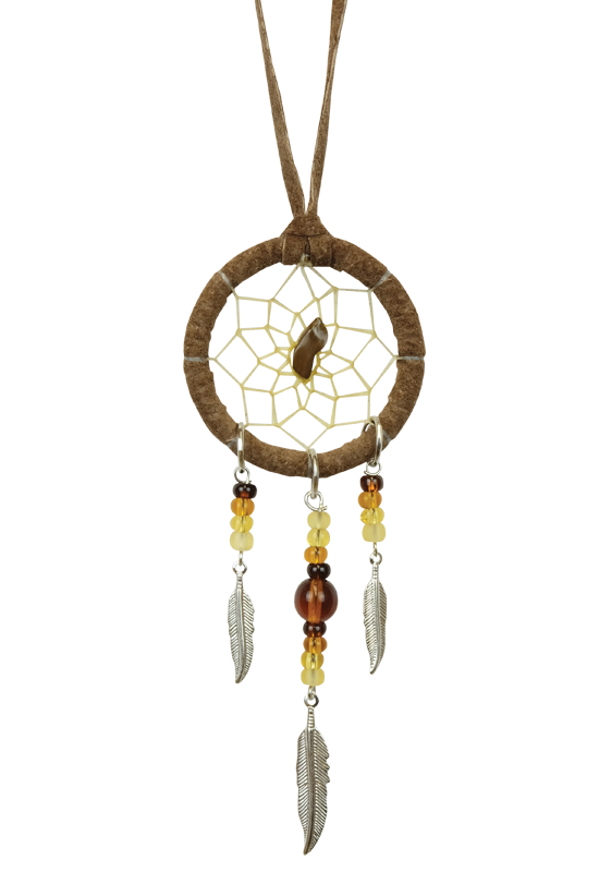 "1.5"" Brown Dream Catcher detailed with a semi-precious stone-1"