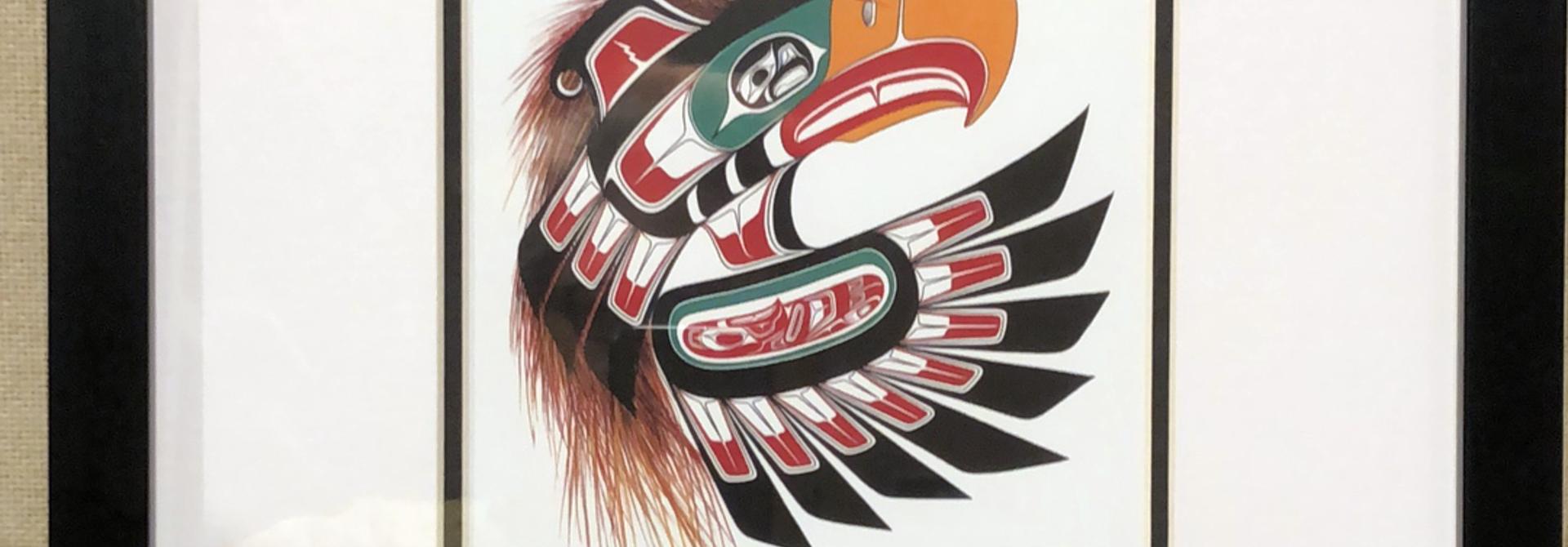 Framed art card  -Thunderbird Mask by Richard Shorty