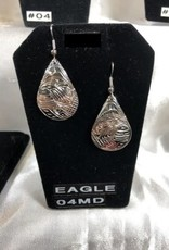 Silver Carved Eagle earrings by Vincent Henson