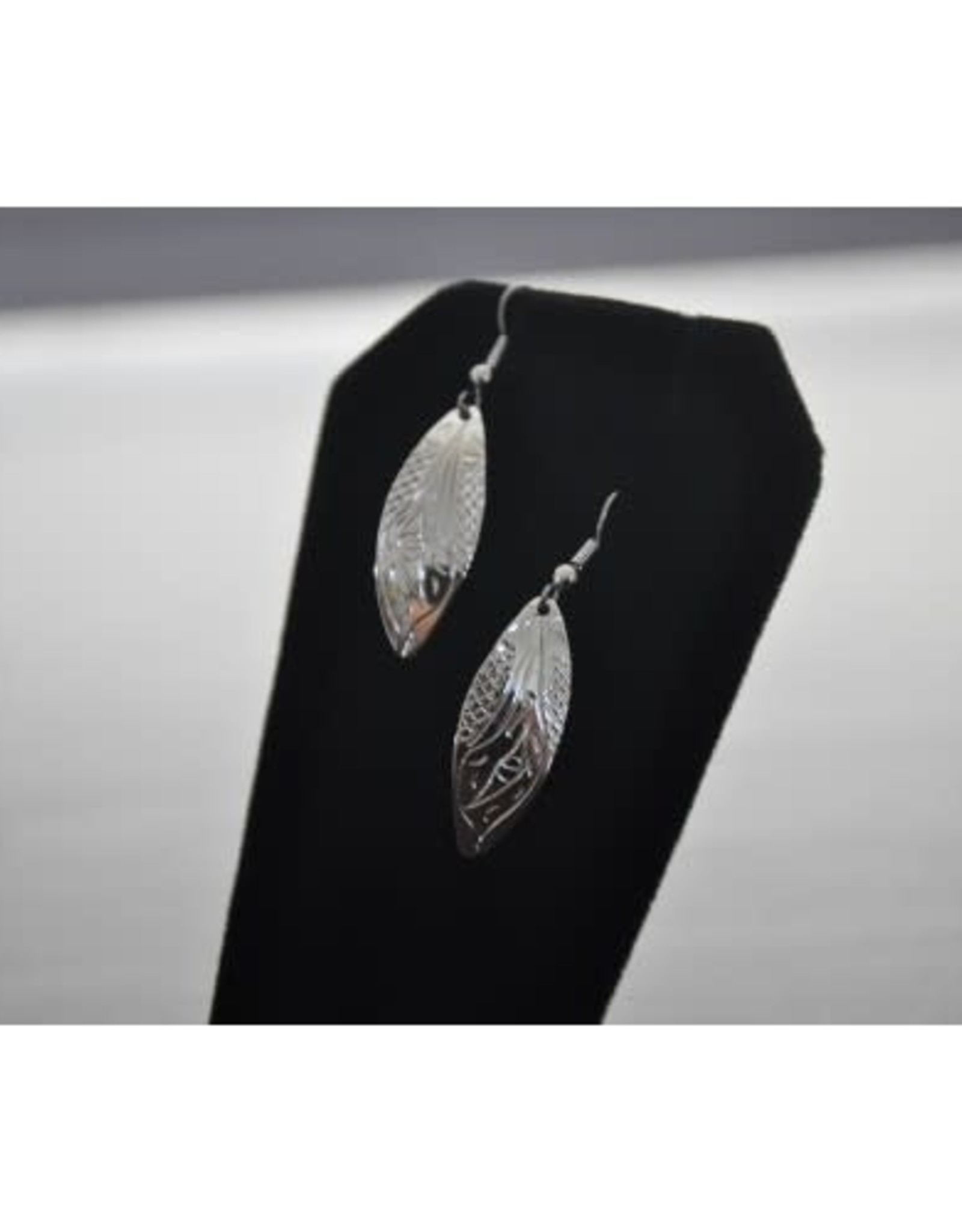 Silver Carved Hummingbird Earrings by Nancy Dawson