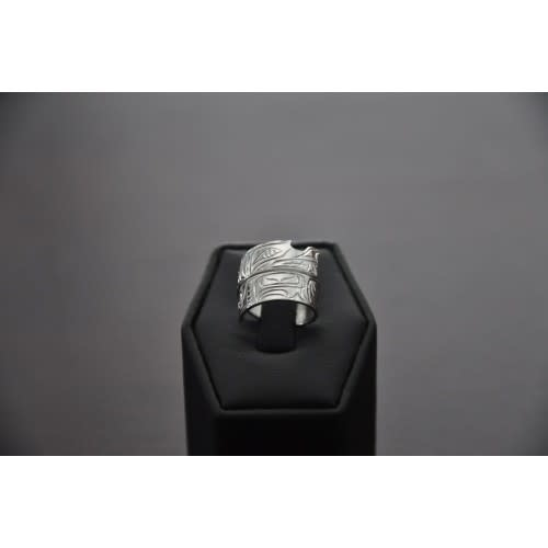 Hand Carved Silver Wrap Ring-6