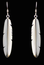 Silver Cast Large Eagle  Feather Earrings by Jadeon Rathgeber