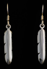 Silver Cast small Eagle Feather Earrings by Jadeon Rathengber