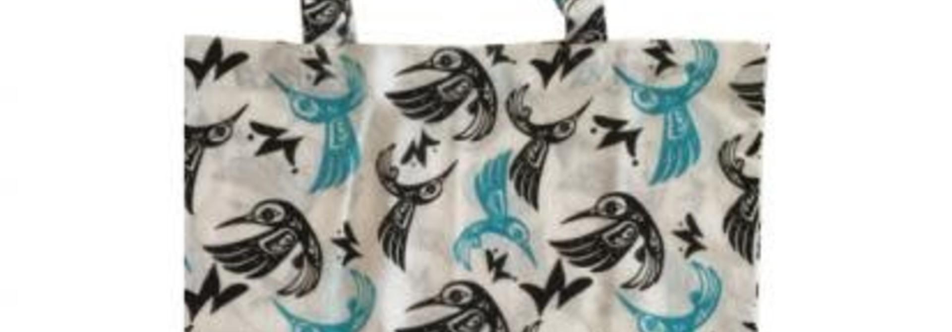 Bill Helin Hummingbird Blue Cotton Shopping Bag