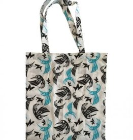 Bill Helin Hummingbird Blue Cotton Shopping Bag