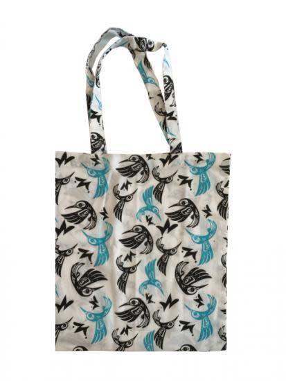 Bill Helin Hummingbird Blue Cotton Shopping Bag-1