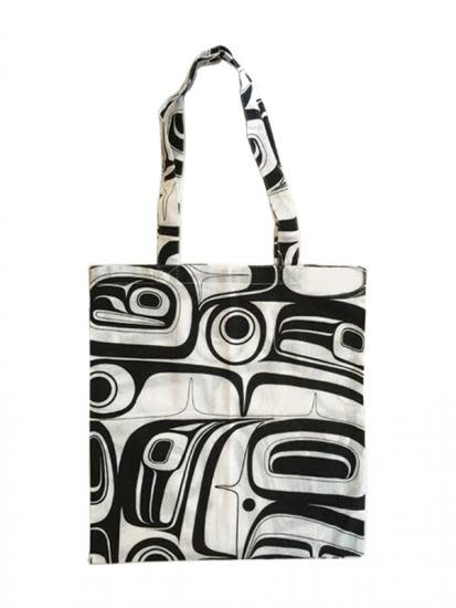 Cotton Shopping Bag (black) -Raven by Kelly Robinson-1