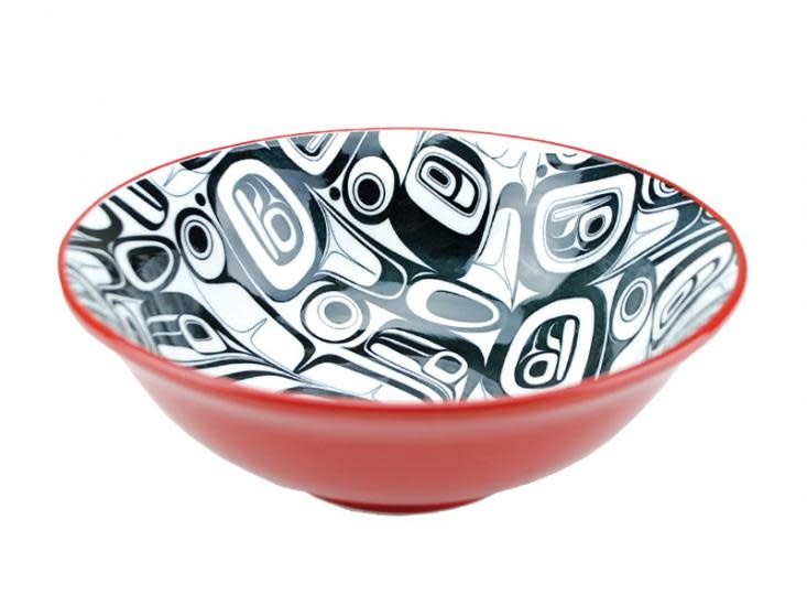 XL Ceramic Raven bowl Red / Black by Kelly Robinson-1