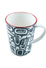 Boxed Porcelain Mug with Raven design by artist Kelly Robinson. Red/Black.