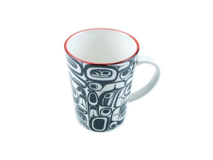 Boxed Porcelain Mug with Raven design by artist Kelly Robinson. Red/Black.-1