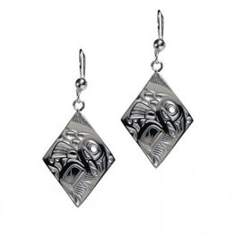 Silver Pewter Salmon Diamond Earrings