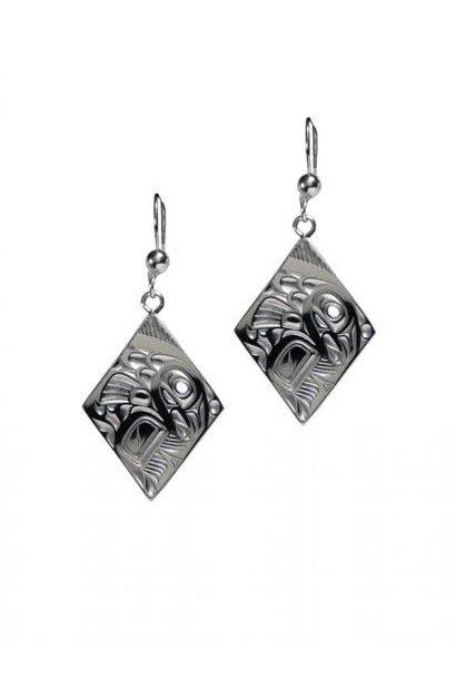 Silver Pewter Salmon Diamond Earrings