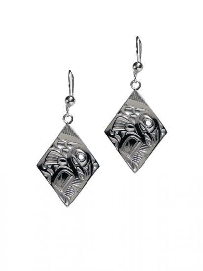 Silver Pewter Salmon Diamond Earrings-1