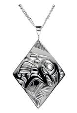 Silver Pewter Salmon Diamond Pendant Bill Helin
