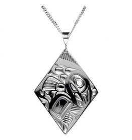 Silver Pewter Salmon Diamond Pendant Bill Helin