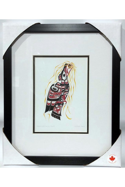 Matted & Framed art cards - Raven with Sun in Mouth by Richard Shorty