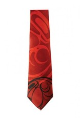 Silk Tie /Red-Raven design by Connie Dickens