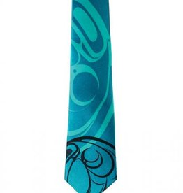 Silk Tie /Turquoise -Raven by Connie Dickens