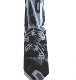 Silk Tie /Grey- Salmon by Anthony Joseph