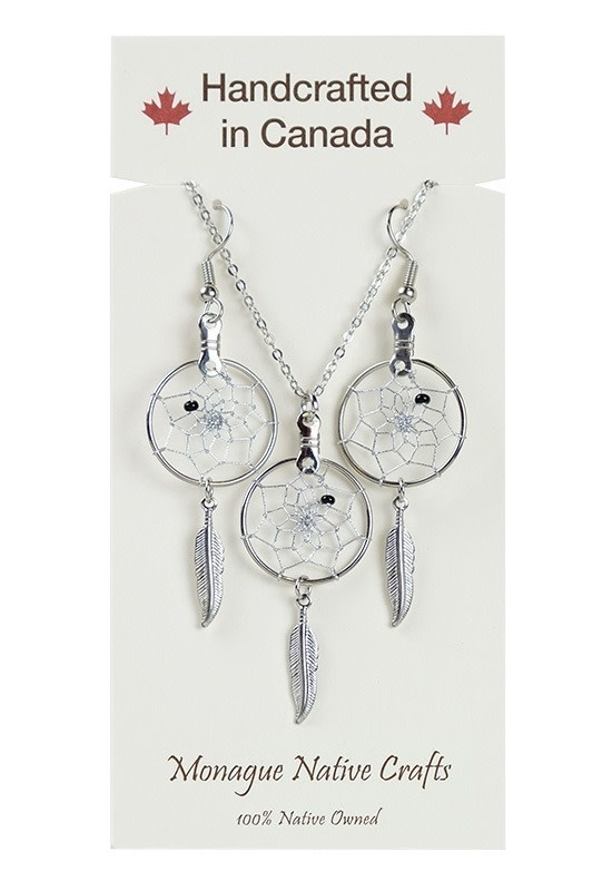Dream Catcher Jewellery Set on Card. Center bead colours come assorted.-1
