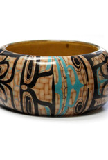 Large Wood Bangle-Whales by Mike Dangeli