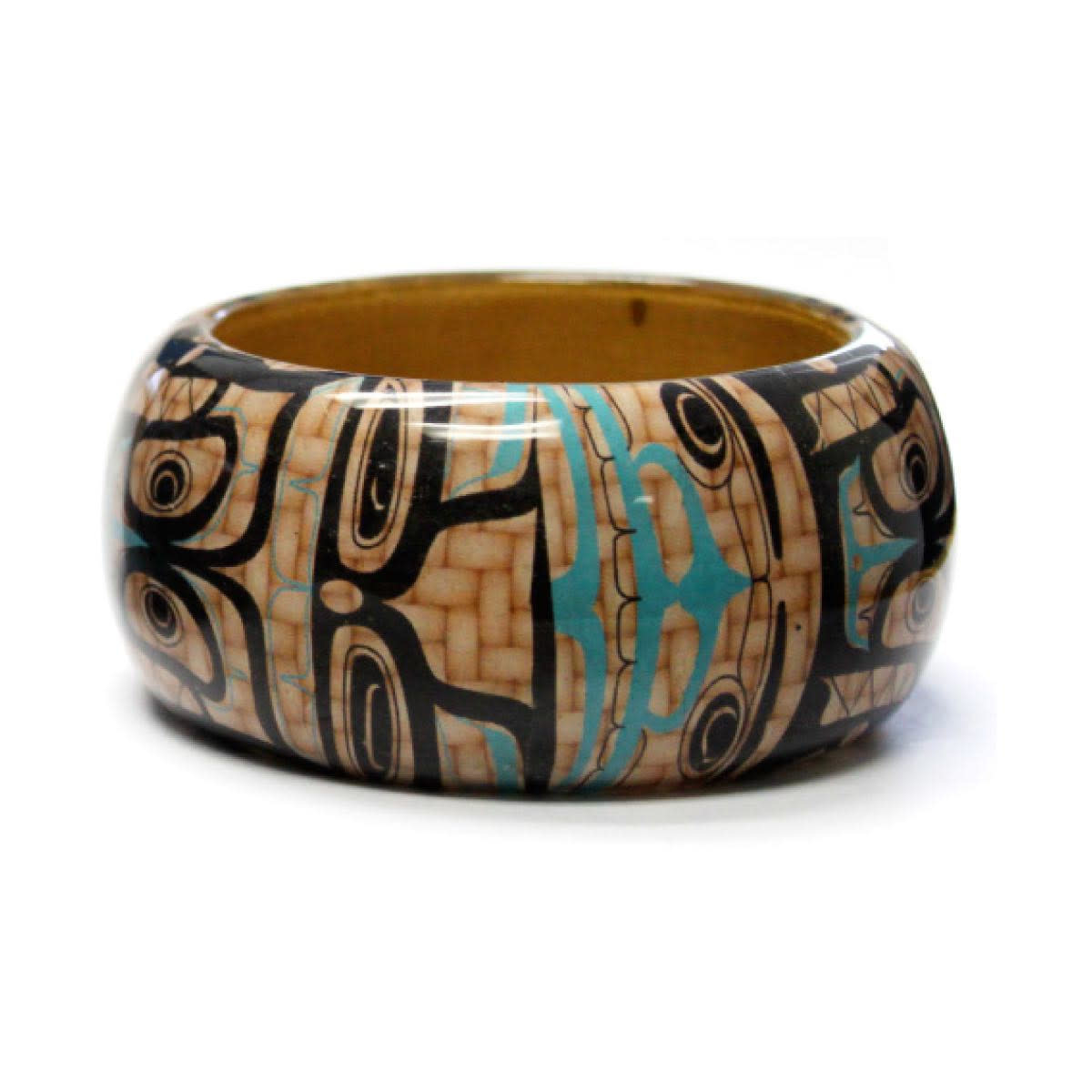 Large Wood Bangle-Whales by Mike Dangeli-1