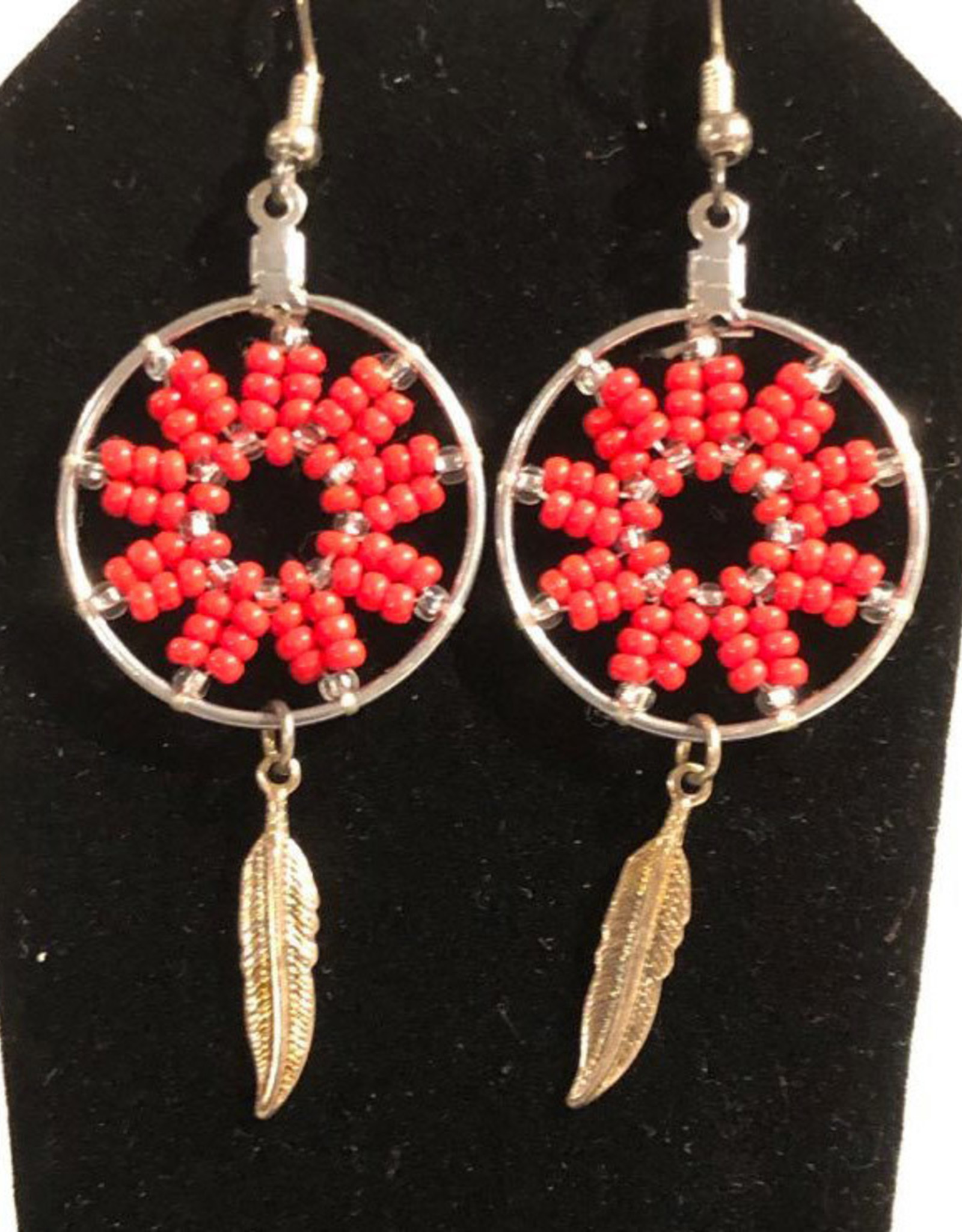 Beaded hoop earrings with feather