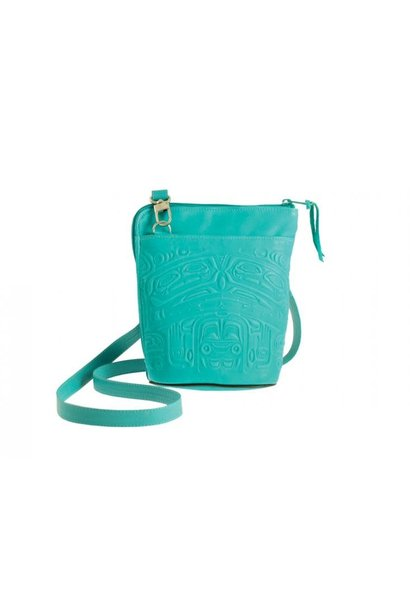 Deerskin Leather Compact Crossbody Bag Bear Box-Teal