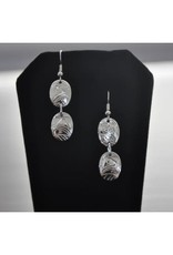 Hand Carved Silver Oval Earrings- Eagle by Vincent Henson