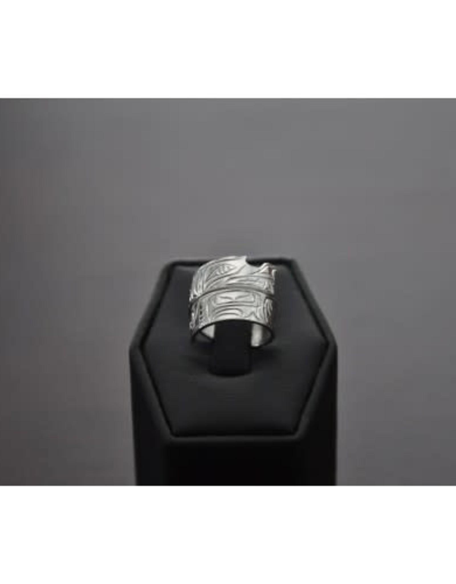 Hand Carved Silver Wrap Ring  Size 8 -Bear by Nancy Dawson