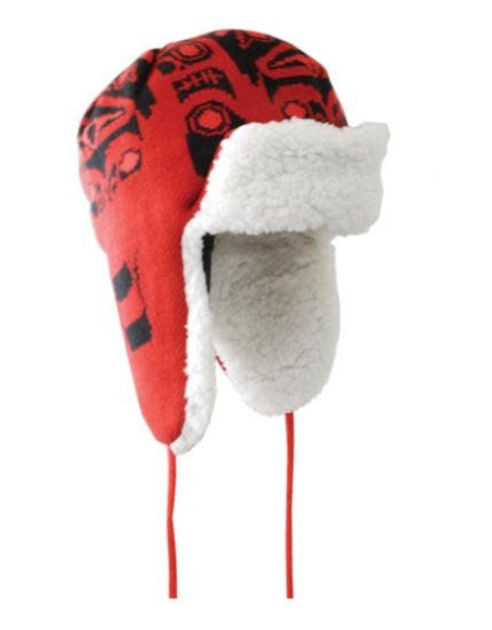 Knitted Flap Hat Frog by Bill Helin/ Red & Black