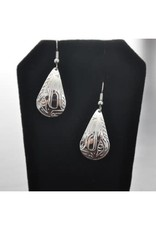 Hand Carved Silver Earrings - Wolf by Vincent Henson