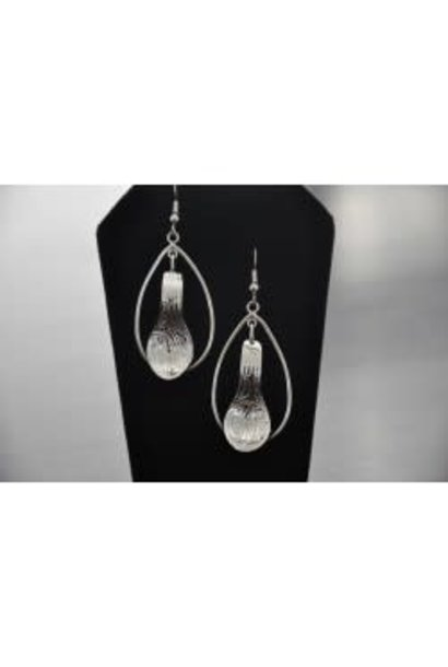 Silver Carved Eagle earrings with hoop- by Vincent Henson