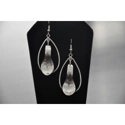Silver Carved Eagle earrings with hoop- by Vincent Henson-1