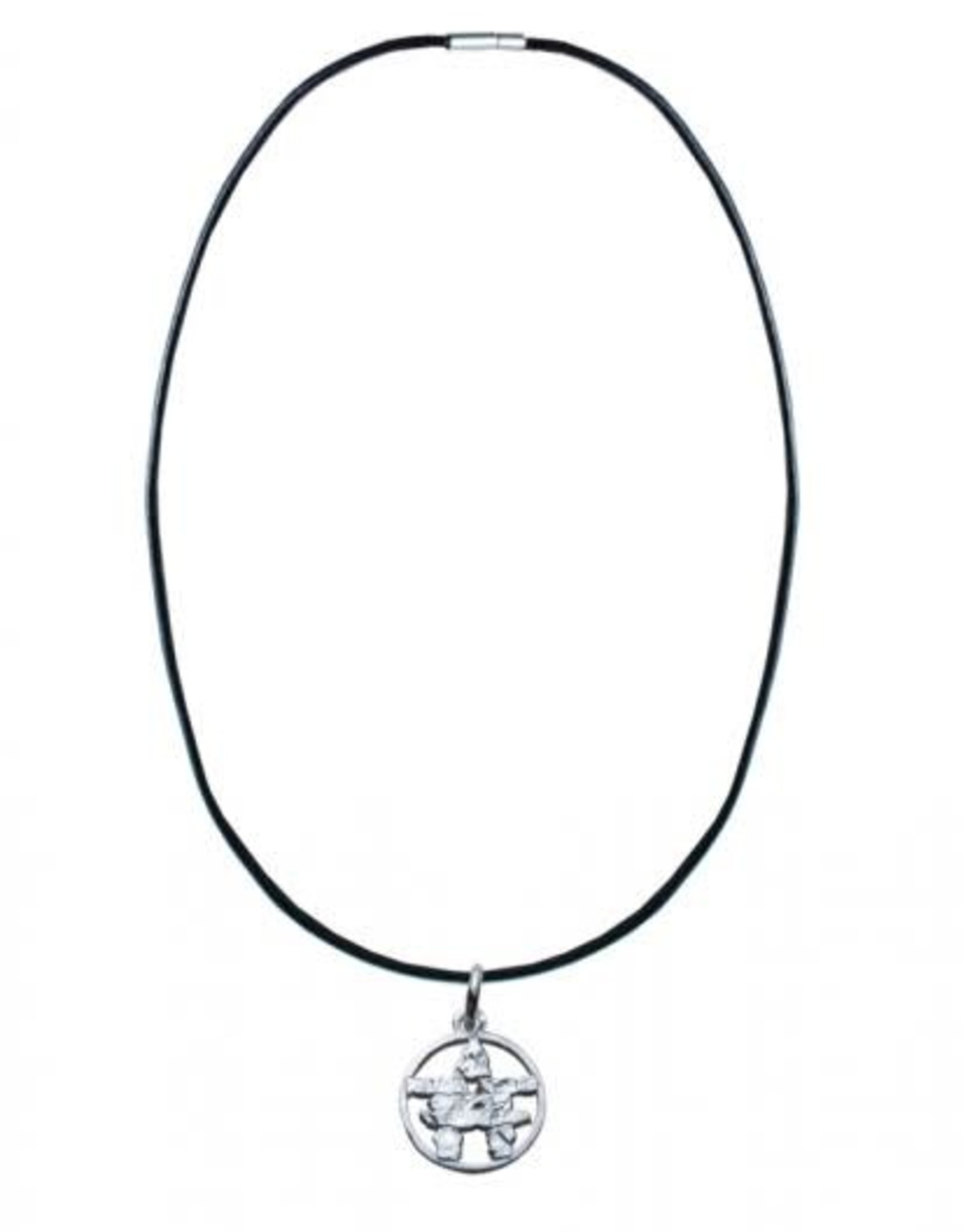 Leather Cord Necklace with Silver Pewter