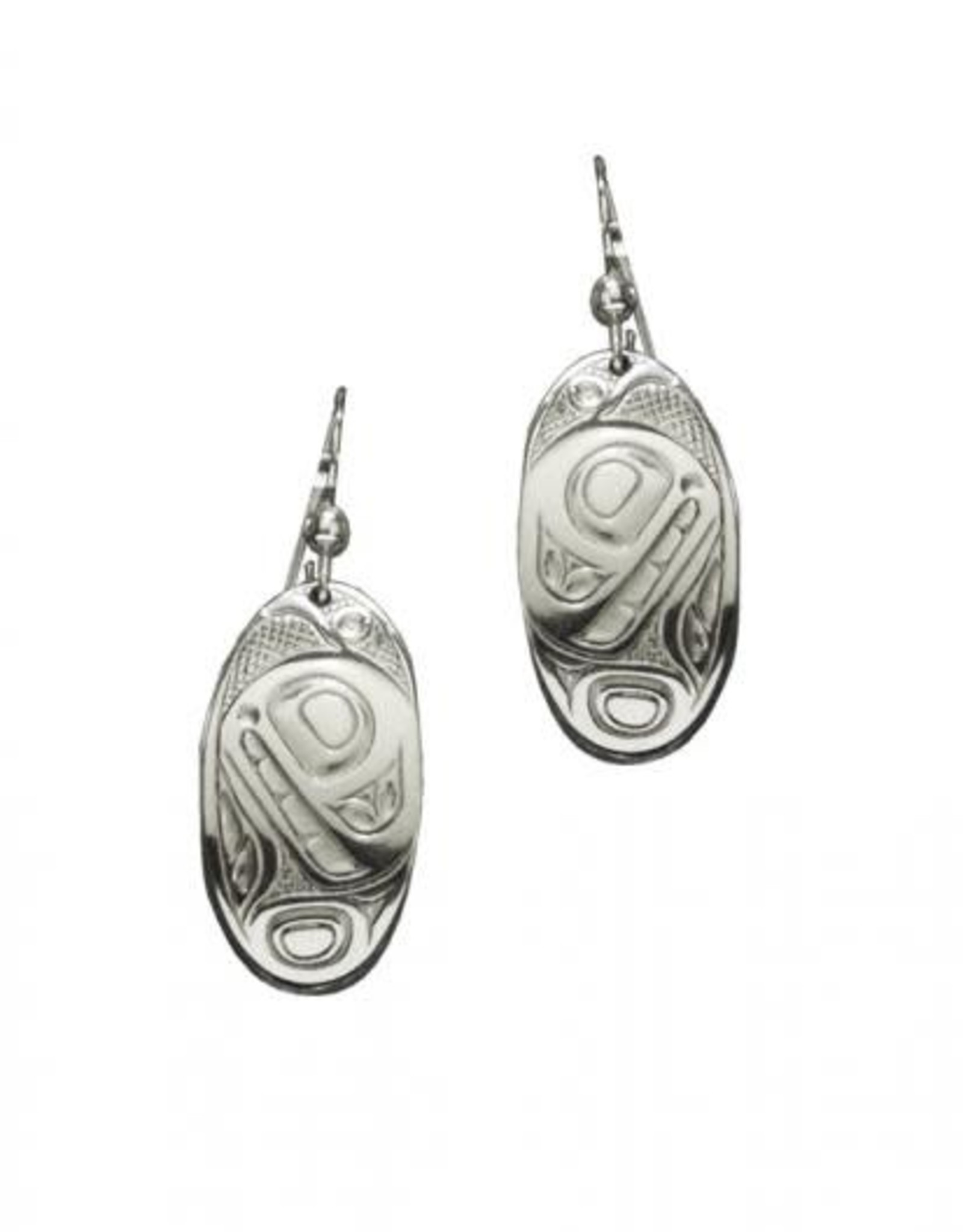 Silver Pewter Oval Orca Earrings by Bill Helin