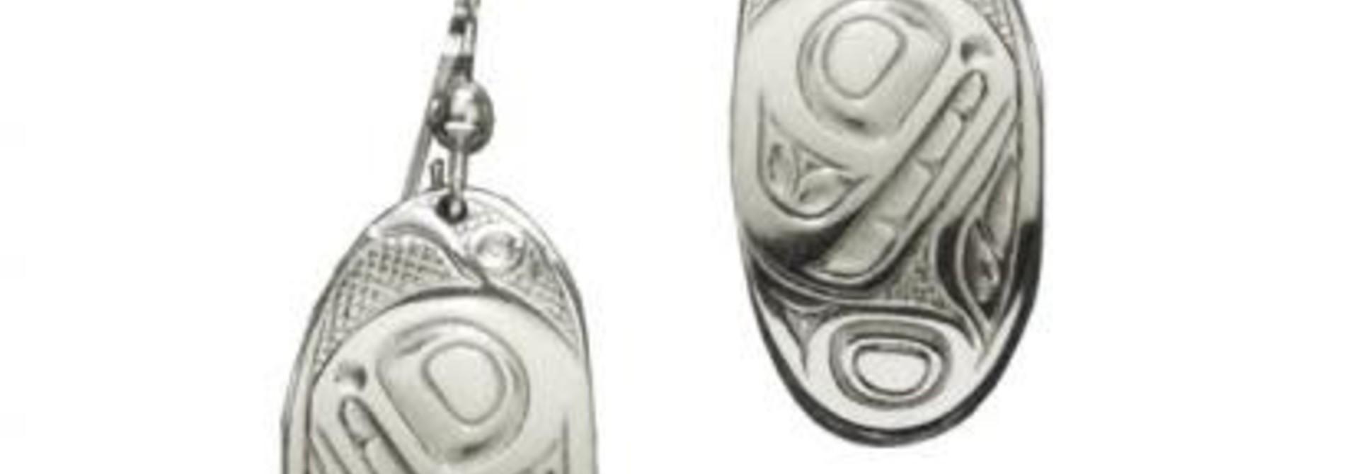 Silver Pewter Oval Orca Earrings by Bill Helin