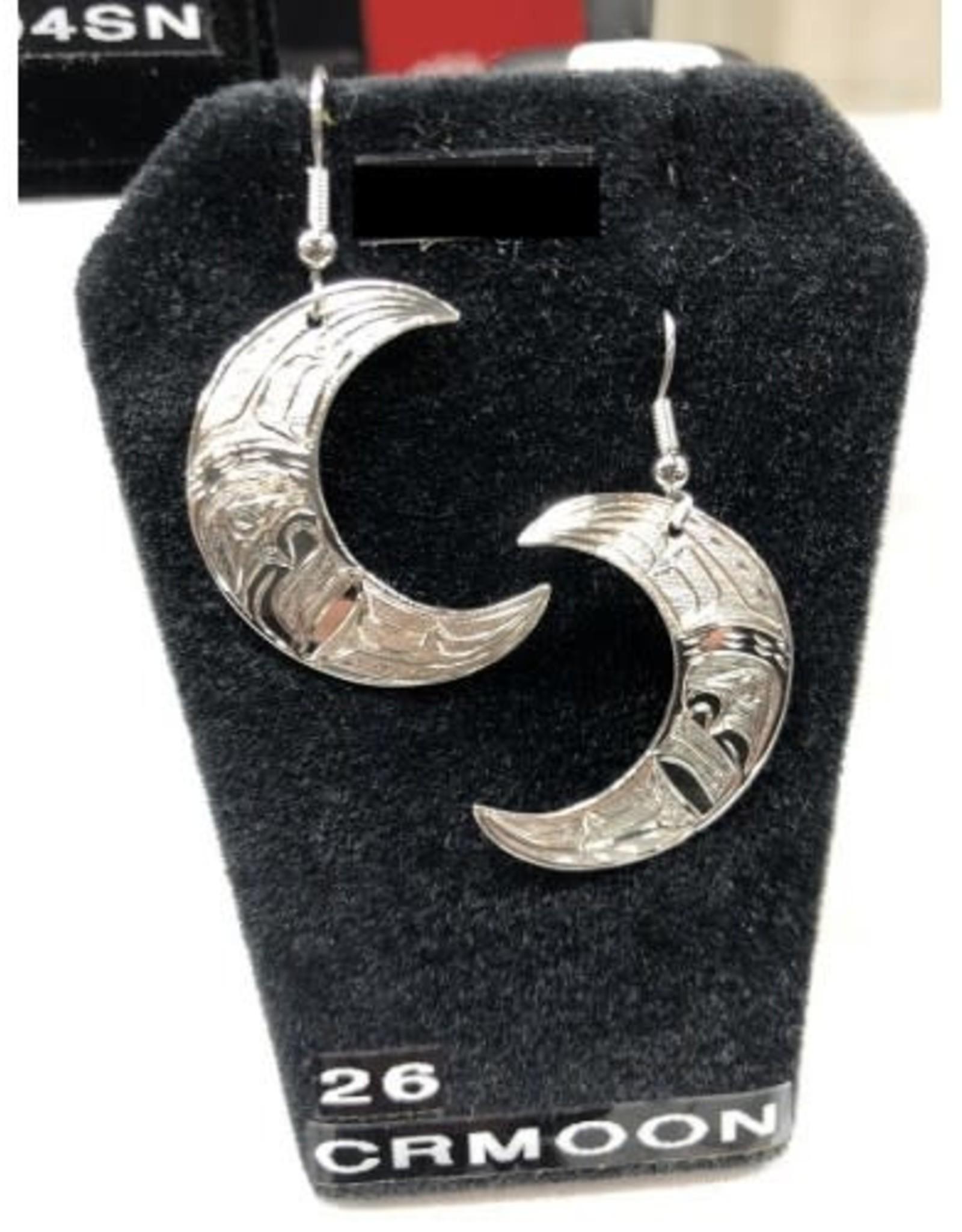Carved Silver Moon Earrings by Nancy Dawson