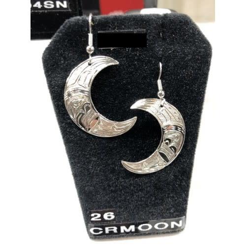 Carved Silver Moon Earrings by Nancy Dawson-1